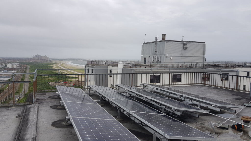Solar panels paired with battery energy storage in New York City